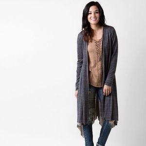 Gilded Intent Raw Edge Longline Cardigan Size L